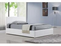 5ft White Faux Leather Ottoman Bed Frame