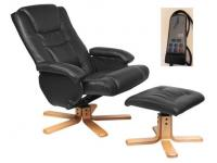BLACK LEATHER FINISH SWIVEL, RECLINING MASSAGE CHAIR & FOOTSTOOL