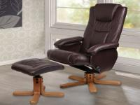 BROWN LEATHER FINISH SWIVEL, RECLINING MASSAGE CHAIR & FOOTSTOOL