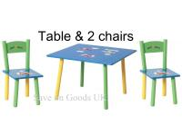 Childs colourful table and 2 chairs set