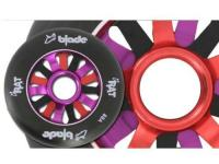RAT Scooter Wheel, 15 Spoke, Black tyre with black, red, and purple spokes
