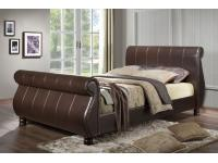 4ft6 Sleigh Faux Leather Bed Frame